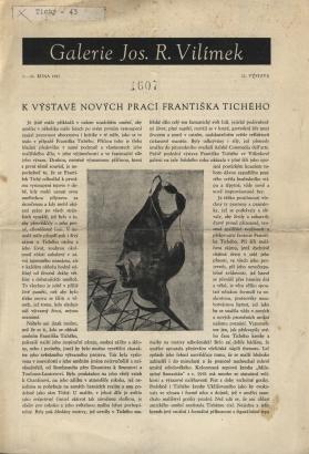K výstavě nových prací Františka Tichého / Zur Ausstellung neuer Werke von Fr. Tichý