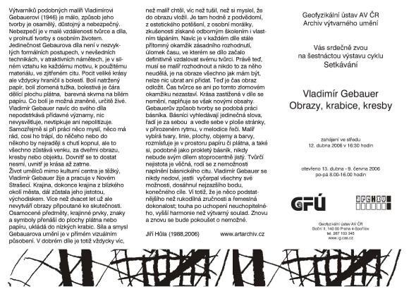 Vladimír Gebauer: Obrazy, krabice, kresby