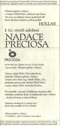 Hollar k 10. výročí založení Nadace Preciosa