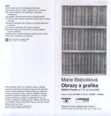 Marie Blabolilová: Obrazy a grafika