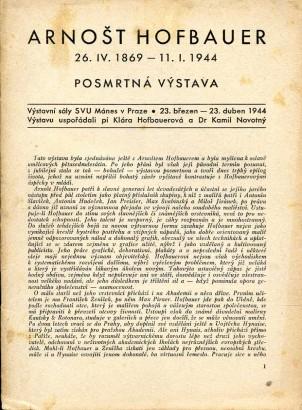 Arnošt Hofbauer 26.IV.1869-11.I.1944