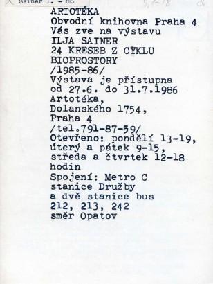 Ilja Sainer: 24 kreseb z cyklu Bioprostory (1985 - 86)
