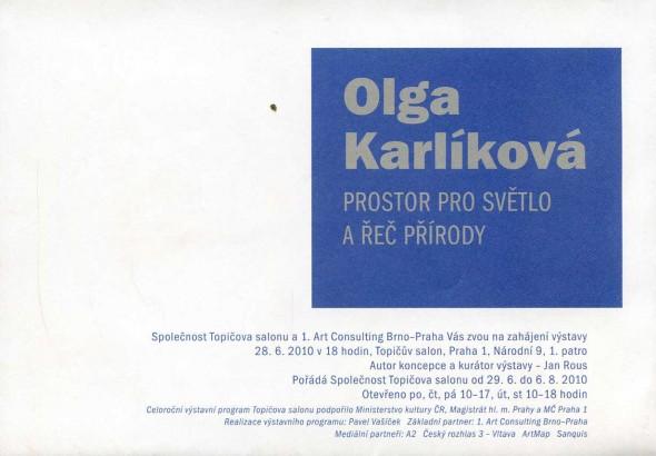 Olga Karlíková: Prostor pro světlo a řeč přírody