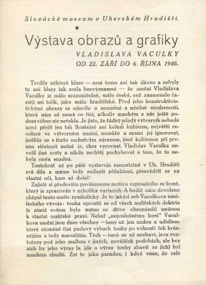 Výstava obrazů a grafiky Vladislava Vaculky