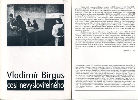 Vladimír Birgus: Cosi nevyslovitelného