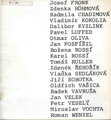 20 mladých malířů, sochařů, architektů, absolventů AVU v Praze