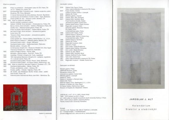 Jaroslav J. Alt: Kalendárium, Stabilní a stabilnější