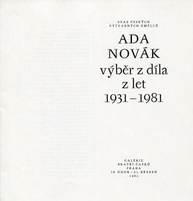 Ada Novák: Výběr z díla z let 1931 - 1981