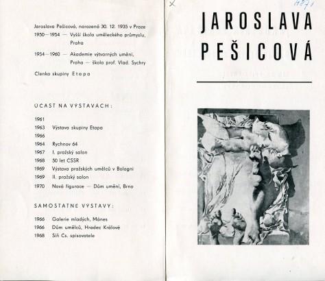 Jaroslava Pešicová: Obrazy, kresby, zrcadla 1969